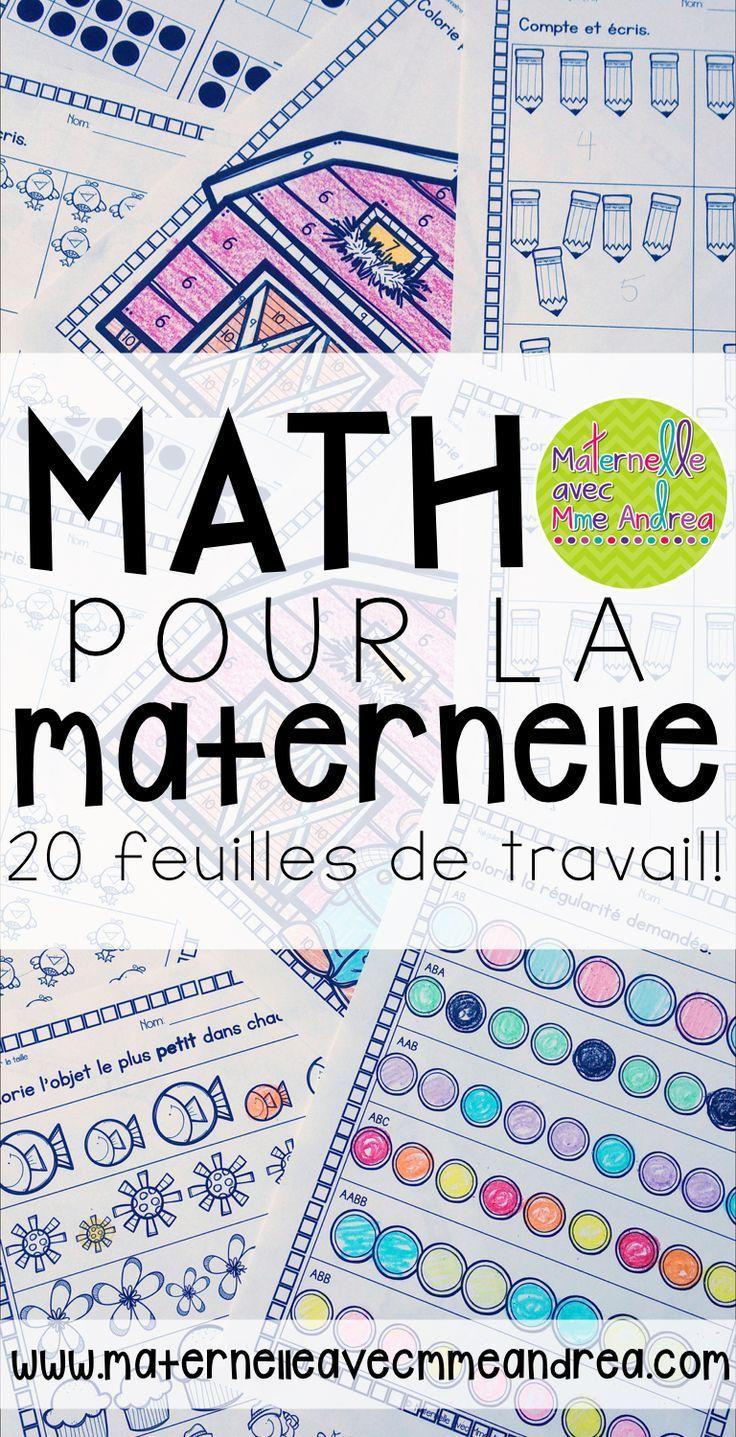 Math pour la maternelle | 20 feuilles de travail | prête à imprimer | feuilles sans préparation | plan de suppléance | nombre | régularités