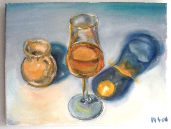 The Water Of Life, original oil painting of whisky on Etsy, £150.00