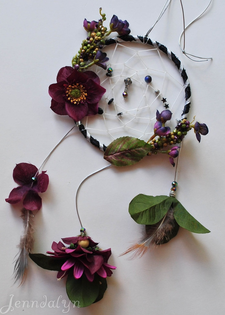 Dream catcher flower fairy purple black magic fairies petals. $32.00, via Etsy.