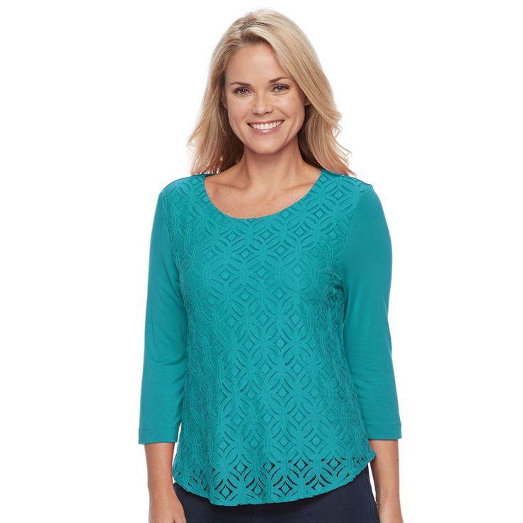 Petite Croft & Barrow® Lace-Front Tee, Women's, Size: Xs Petite, Blue