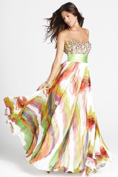 witte jurk met gekleurde streepen en een glitter topje