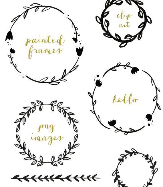 Handpainted Branches Wreath Clip Art by FieldandFountain on Etsy
