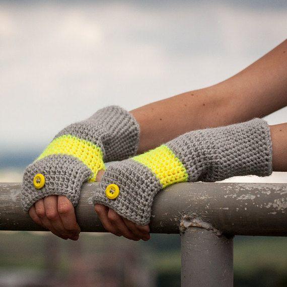 Yelloww Grey Fingerless Gloves / Soft Crochet Arm by RUKAMIshop