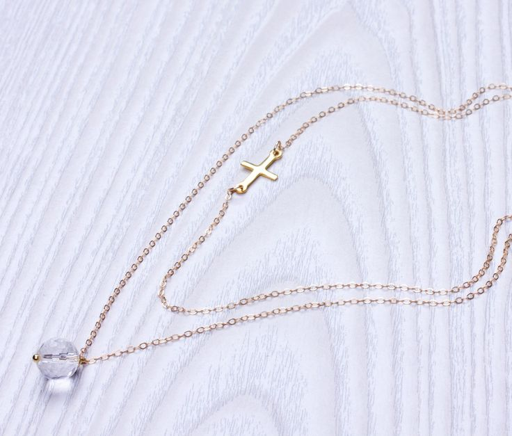 Layered Gold Necklace - Double Layer Necklace - Sideways cross necklace