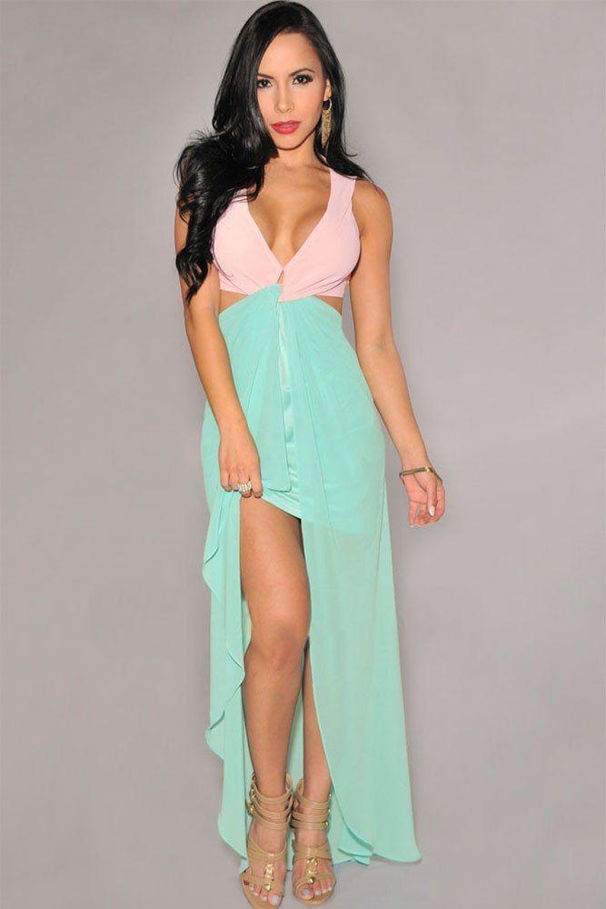 Robes Longues Rose Vert Cut Out Side Robe Fendue – Modebuy.com