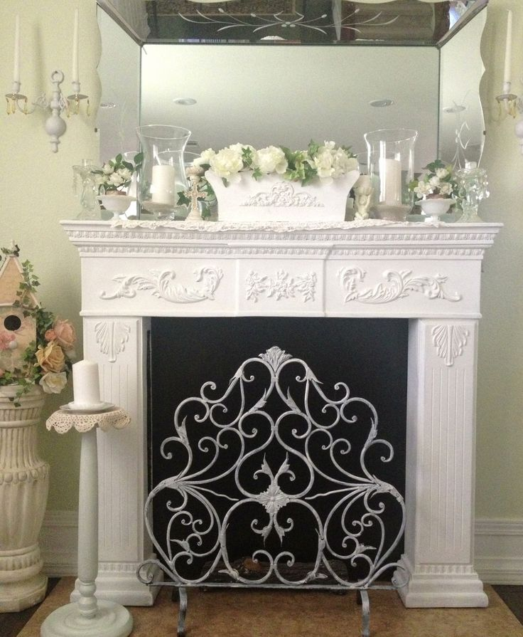 Fireplace mantle shabby chic my beautiful home - Manteles shabby chic ...