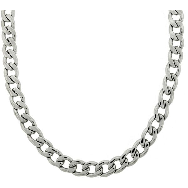 Stainless Steel 14mm Thick Curb Chain Necklace ($37) ❤ liked on Polyvore featuring men's fashion, men's jewelry, men's necklaces, white, mens stainless steel chain necklace, mens white gold necklace, mens white gold chain necklace, mens stainless steel necklace and mens chain necklace