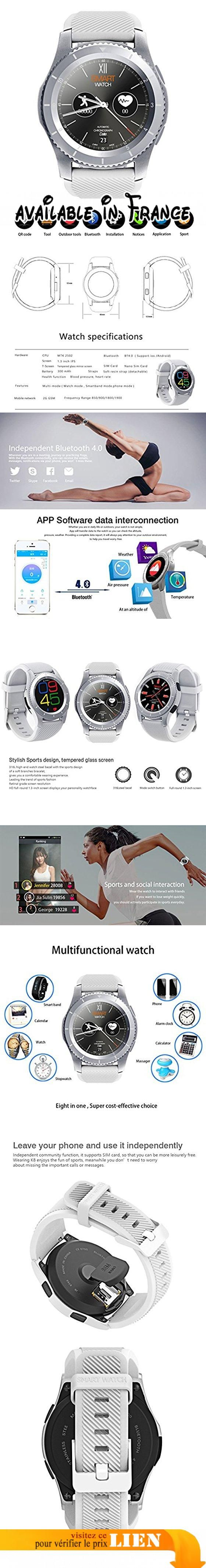 """Padgene Montre Connectée Bluetooth 4.0 Smartwatch Sport G-Sensor GPS Bracelet Connecté Cardiofréquencemètre Podomètre Supporte SIM Carte pour Android Samsung SONY HUAWEI WIKO iOS iPhone (Argent). CONFIGURATION AVANCÉE : Smartwatch avec la technologie Bluetooth 4.0 et Chip MTK2502, compatible avec Android smartphone et iOS iPhone; 1.3"""" IPS Écran tactile en verre tout rond, 240 * 240 en résolution; batterie à 300 mAh; 13.5mm cadran slim, designs variés et à la mode."""