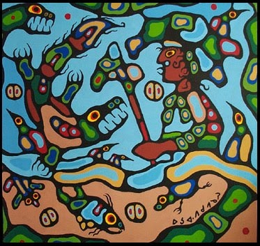 Norval fighting Demon by Norval Morrisseau Native Canadian Artist