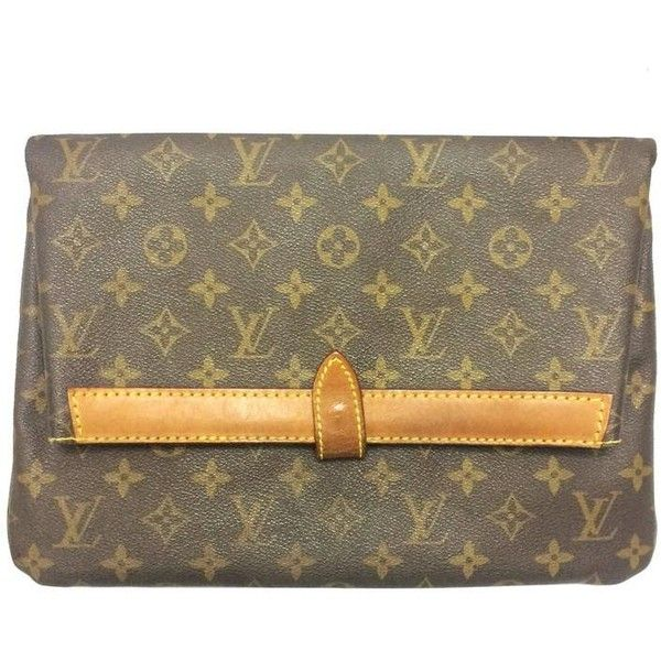 Preowned 80's Vintage Louis Vuitton Monogram Envelope Style Document... (795 BAM) ❤ liked on Polyvore featuring men's fashion, men's bags, brown, clutches and 80s men's fashion