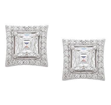 #ilovetoshop Tycoon for Diamonelle Square Halo Design Sterling Silver & Platinum Plate Stud Earrings