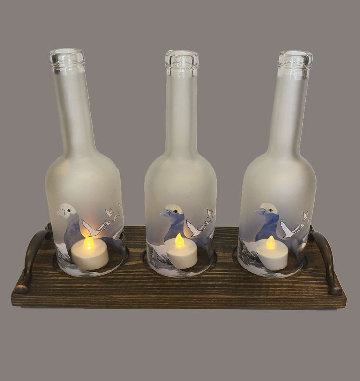3 Bottle Grey Goose Candle Holder-Walnut