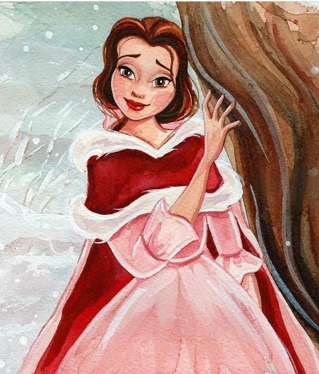 Belle in her winter pink dress in the snow