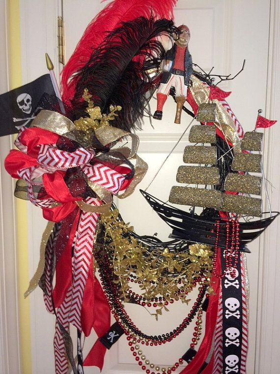Red Black and Gold Gasparilla Wreath by WenchesandWreaths on Etsy, $160.00