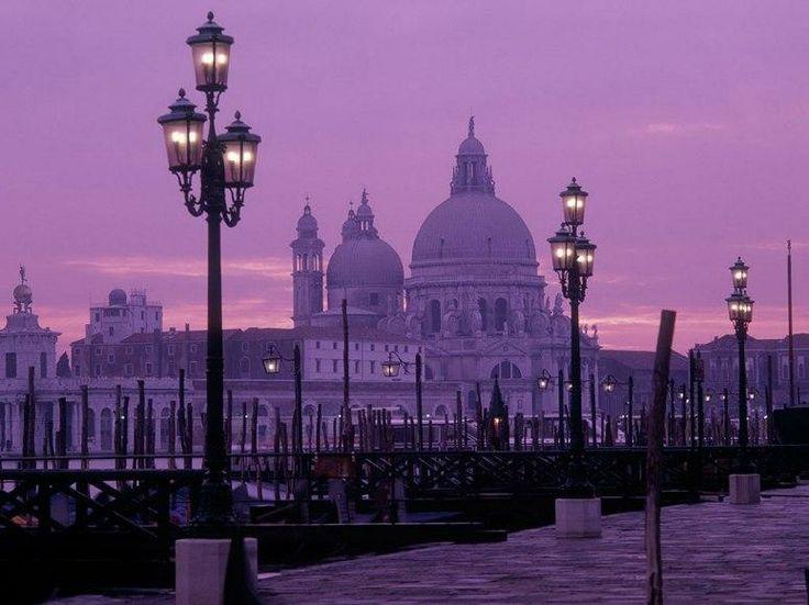 SANTA MARIA DELLA SALUTE  Venice, Italy    Charming Venice is always magical, and its stunning 17th-century landmark, Santa Maria della Salute, really shines at dusk.