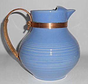Bauer Pottery Ring Ware Delph Ice Lip Pitcher W/raffia