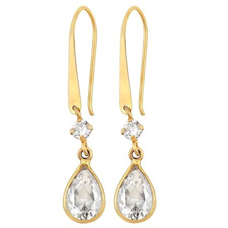 9ct Gold CZ Pear Shepherd Hook Earrings