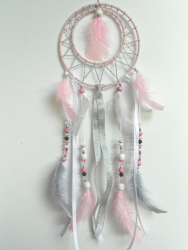 Catch Dream handgemacht pink, grau und weiß 40 cm hoch und