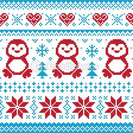 Natal e inverno padrão de malha, cartão - scandynavian estilo de camisola
