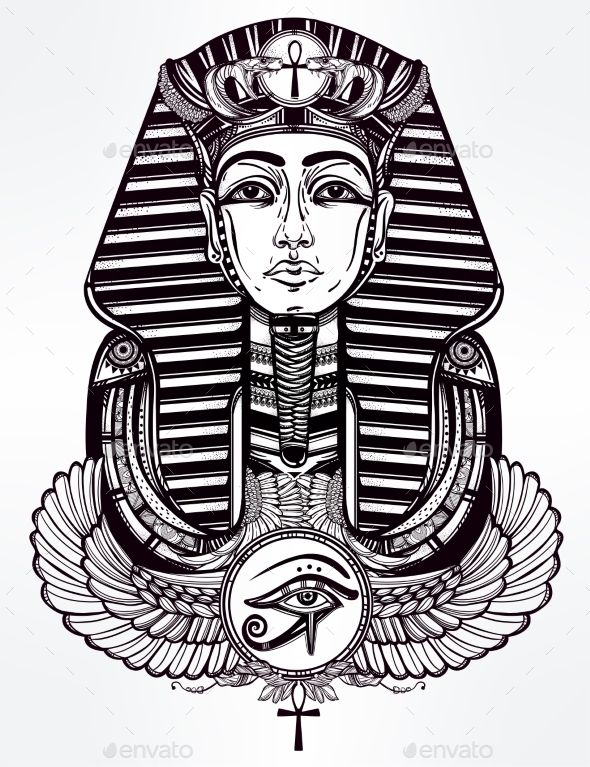 Vintage Tattoo Pharaoh with Winged Ankh Vector illustration EPS