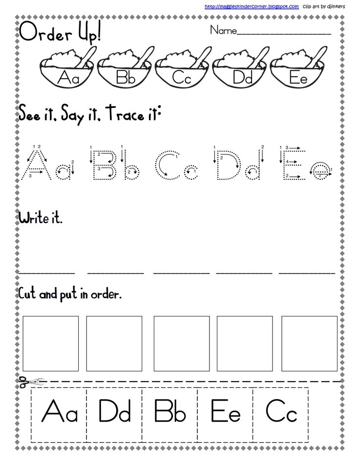 Letter Sequence a to e.pdf Finger Gym Activities