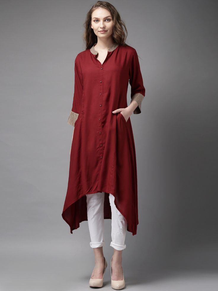 Maroon Rayon 3/4th Sleeves Solid High-Low Kurta  #Kurta #Maroon #Rayon #High-Low