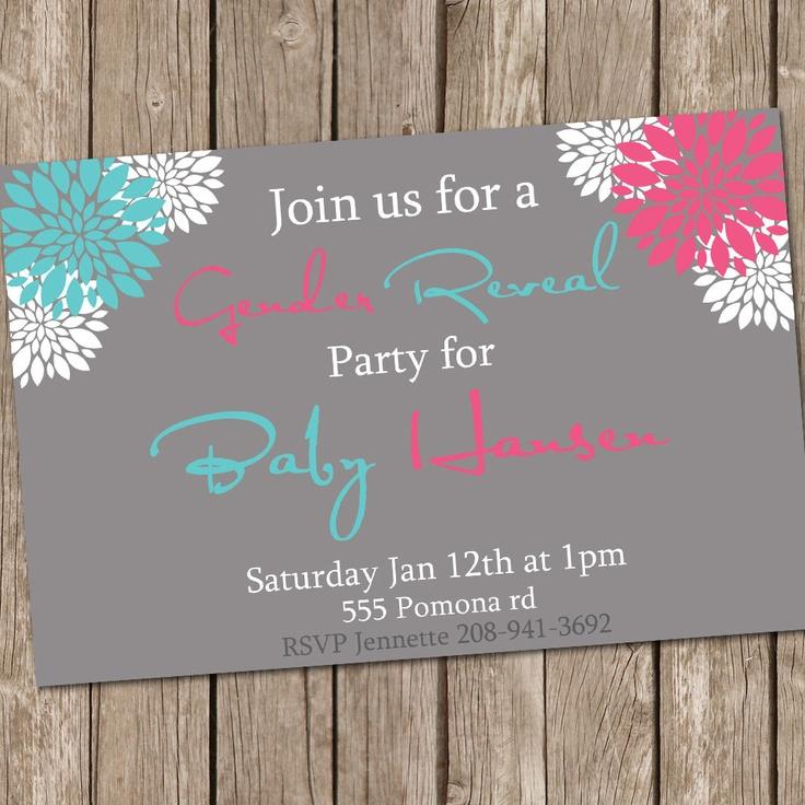 Gender Reveal Invitation Baby Reveal Invite Printable Personalized 121204-J4-1I. $13.00,