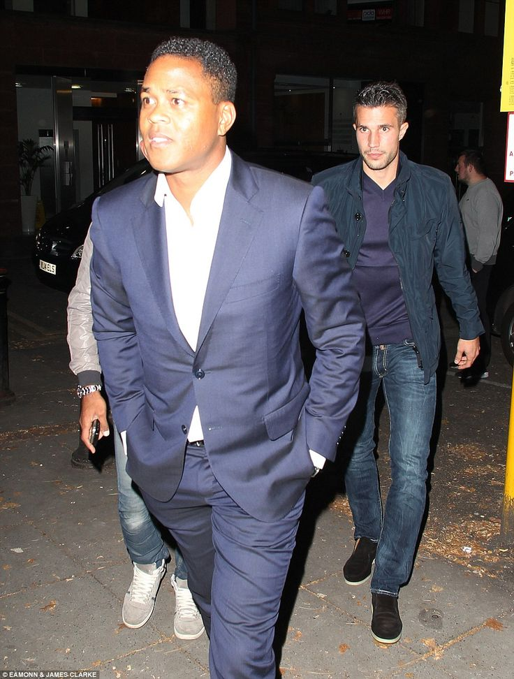 Former Barcelona striker Patrick Kluivert joined Robin van Persie for the evening in Manch...