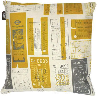 'Tickets Please' cushion inspired by vintage bus tickets. Produced by Mini Moderns in collaboration with LTM.