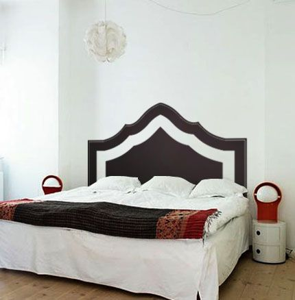 Want an elegant, modern, and crisp way to dress up a spare or master bedroom? Donne this eastern-inspired modern headboard to spruce up a spare space in an exotic way!  Shown in Black #70, as a King sized bed.  Wall decals are precision cut adhesive vinyl words and designs that are applied to walls and other sur...