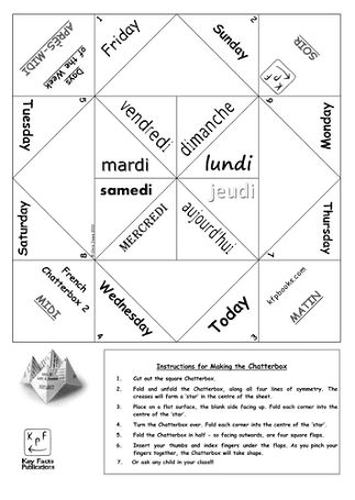 "Résultat de recherche d'images pour ""chatterbox game template  in french"" #french #homeschool #games"