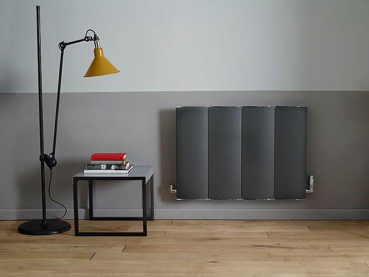 #twotonewall #splitwall #grey #2tone #room #woodenfloor #floorboards #oak #radiator #yellowlamp