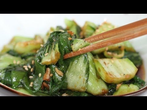 """Sautéed Bok Choy Recipe (Stir-Fried)  Heat veg oil over med heat.  Add minced garlic & minced ginger. Cook about 1 min. Cut  bok choy into 1"""" pieces and add to pan with soy sauce. Cook about 3 min or tail leaves are wilted and stems soften, stirring occasionally. To serve sprinkle with toasted sesame seeds and black pepper."""