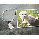Custom Dog Chain Bracelet, 925 Sterling TaGette Silhouette made from your pet photo memorial Jewelry