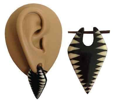 1.6 mm + Black Organic Horn Boho Ear Plug Tunnel Hanger Taper Earring Stretcher