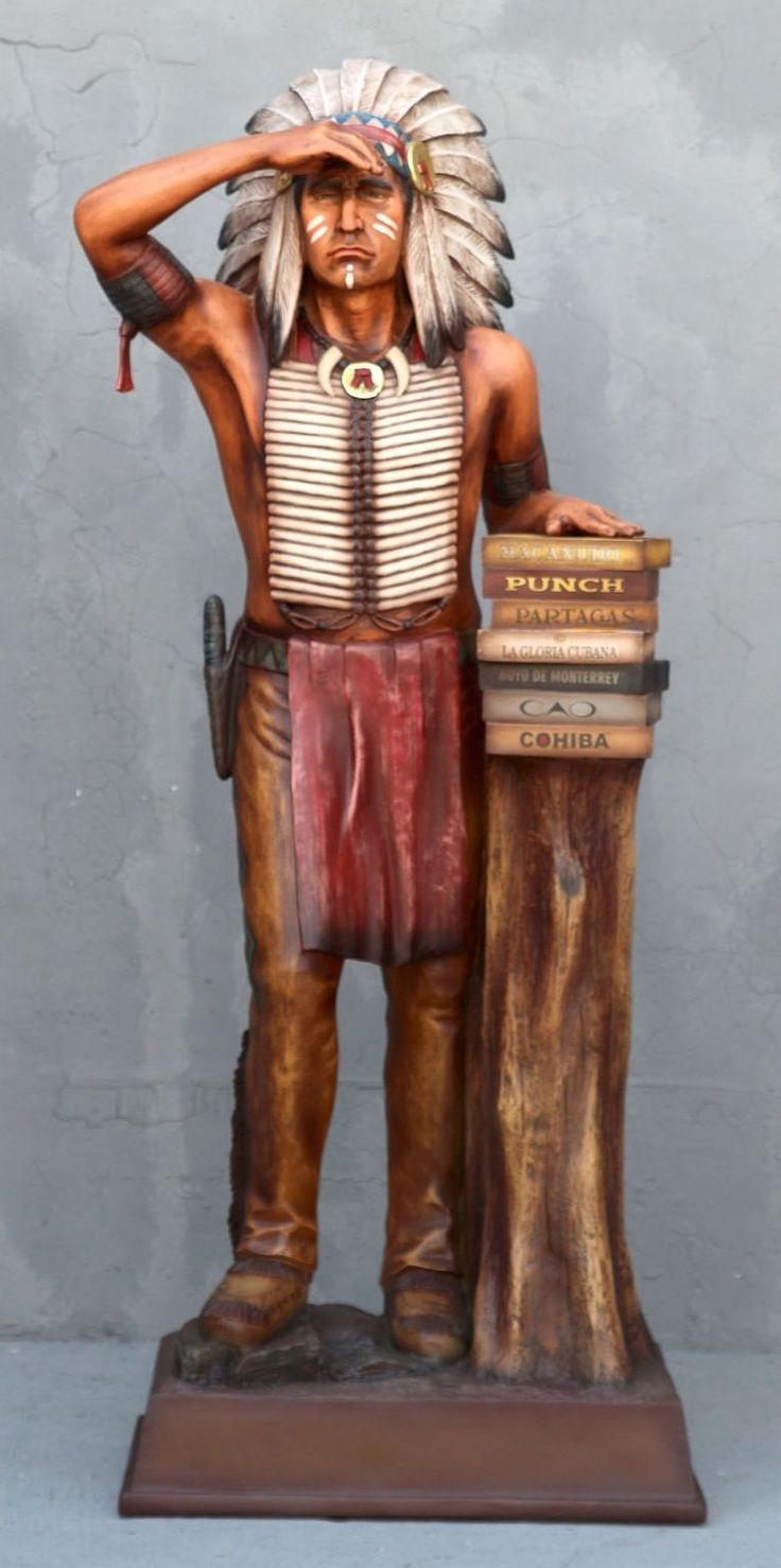Cigar Store Indian Chief 6ft Display Tobacco Punch Smoke COHIBA Art Label Sale | eBay