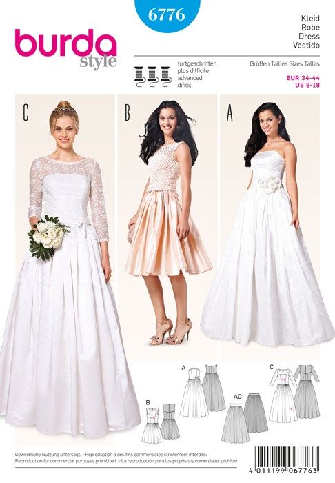 Patron de robe de mariée - Burda 6776 - Rascol