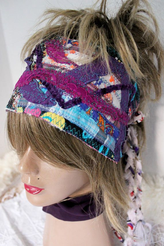 Hippie head purple head purple  Dreads goddess blue boho
