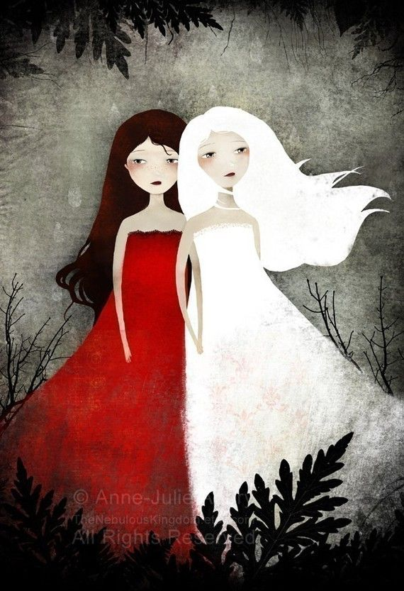 """""""Snow White and Rose Red"""" by artist Anne-Julie Aubry. Her work would be lovely for YA cover art."""