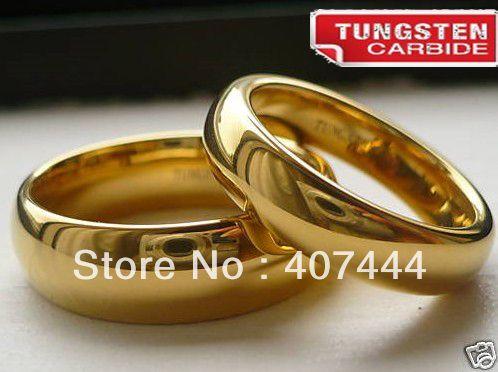 TUNGSTEN CARBIDE Ele & Ela ouro 18 K de cores do casamento banda de anel-in Anéis de Jóias em Aliexpress.com