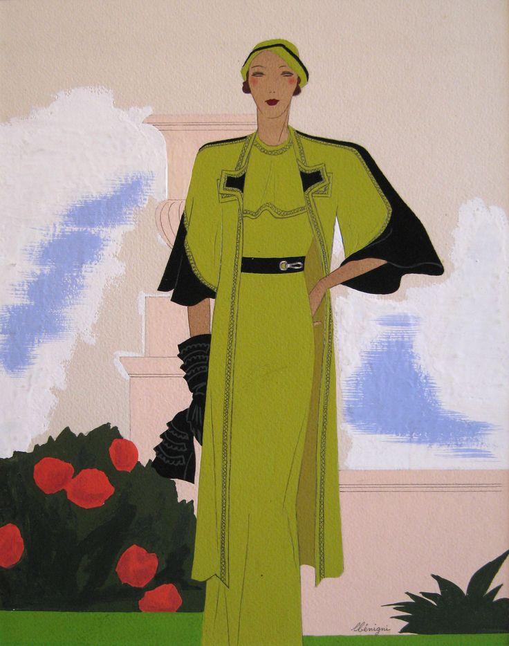 'Élégante à l'ensemble vert, modèle Panache par Jenny' Gouache on paper: 27 x 21 cm Signed by Leon Benigni (1892 – 1948)