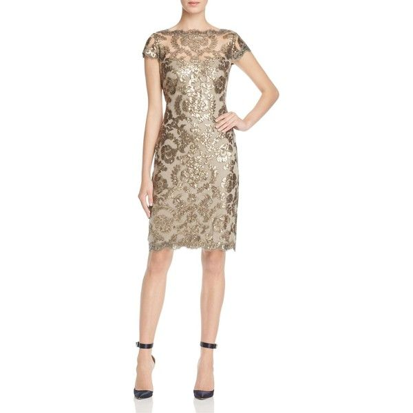 Tadashi Petites Sequined Lace Dress ($345) ❤ liked on Polyvore featuring dresses, smoke pearl, petite evening dresses, holiday cocktail dresses, tadashi shoji dresses, petite cocktail dress and sequin dress