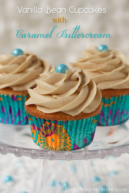 Vanilla Bean Cupcakes w/ Caramel Buttercream - If you think your guests will eat just one, think again! They disappear like hot cakes!