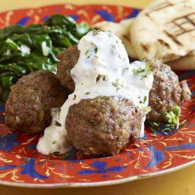 Greek meatballs with feta walnut sauce