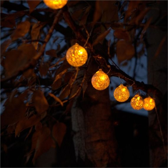 Aurora String Lights Clear With Amber LED Sustainable Outdoor Lighting,  Solar Lights U0026