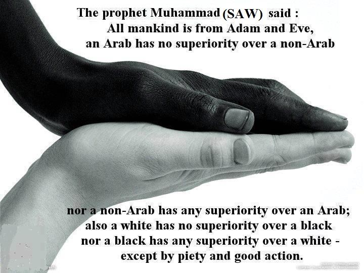 Islam teaches us not to be racial.. islam is against racism!