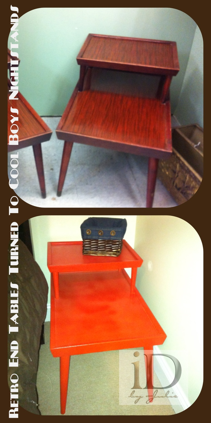 Dillon's new basketball orange nightstands...These were so fun and inexpensive to do!