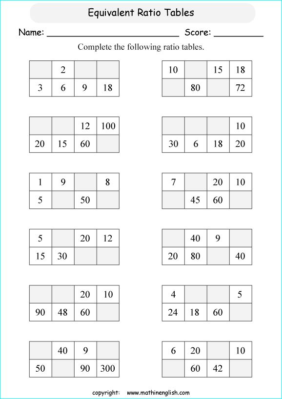 Printable Math Worksheet