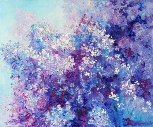 Art Flowers And Purple Image