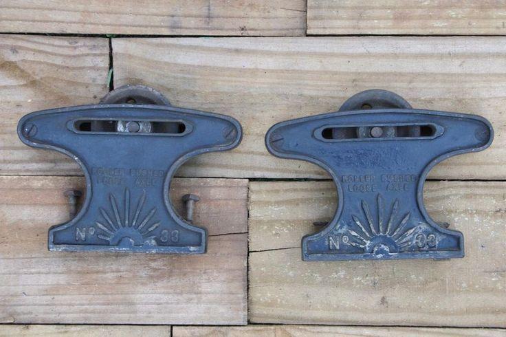 Antique Cast Iron Pocket Door or Barn Door Rollers Pat. 1897-98 #33 Beautiful! #Unknown